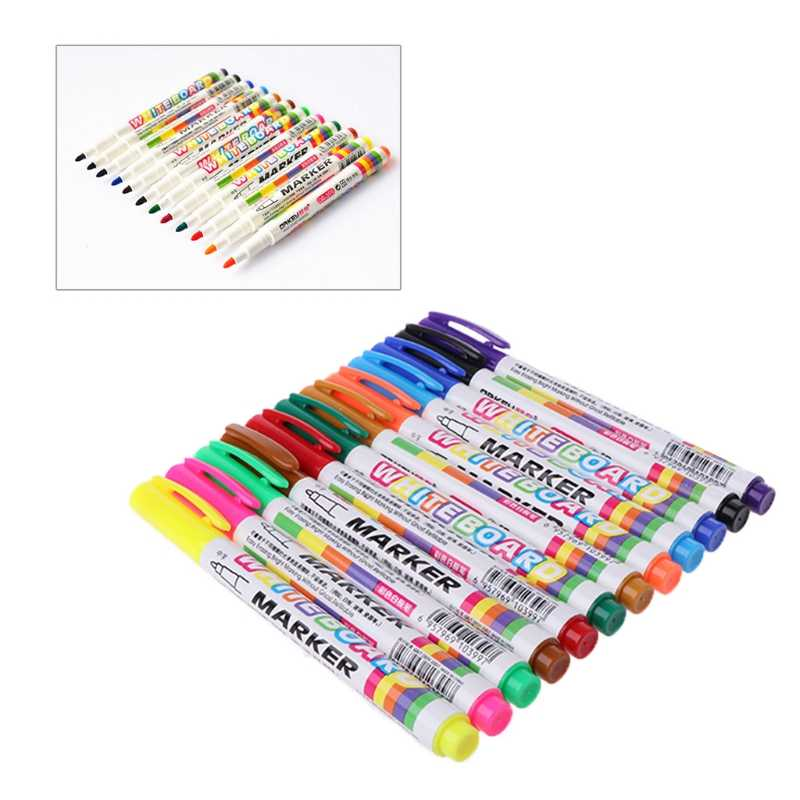 12 Colors Whiteboard Marker Non Toxic Dry Erase Mark Sign Fine Nib Set Supply W15