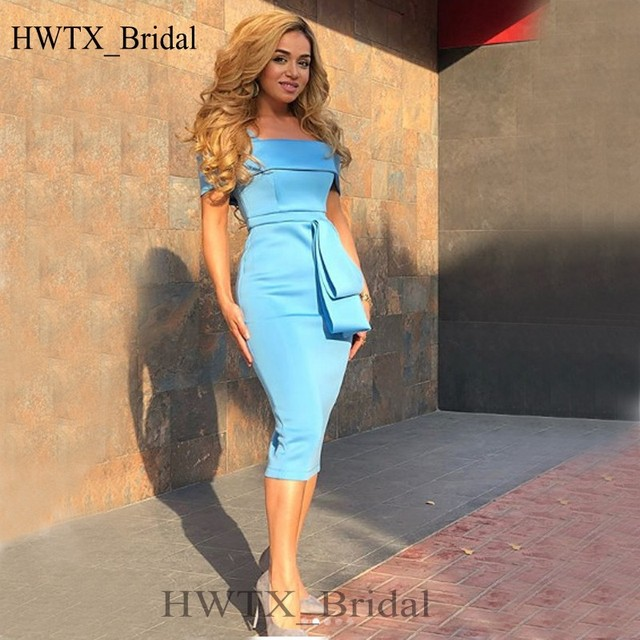 Sexy Blue Mother Of The Bride Dresses 2018 New Off Shoulder Plus Size Tea  Length Cheap Simple Arabic Formal Evening Party Gowns 9c4b104e4c97