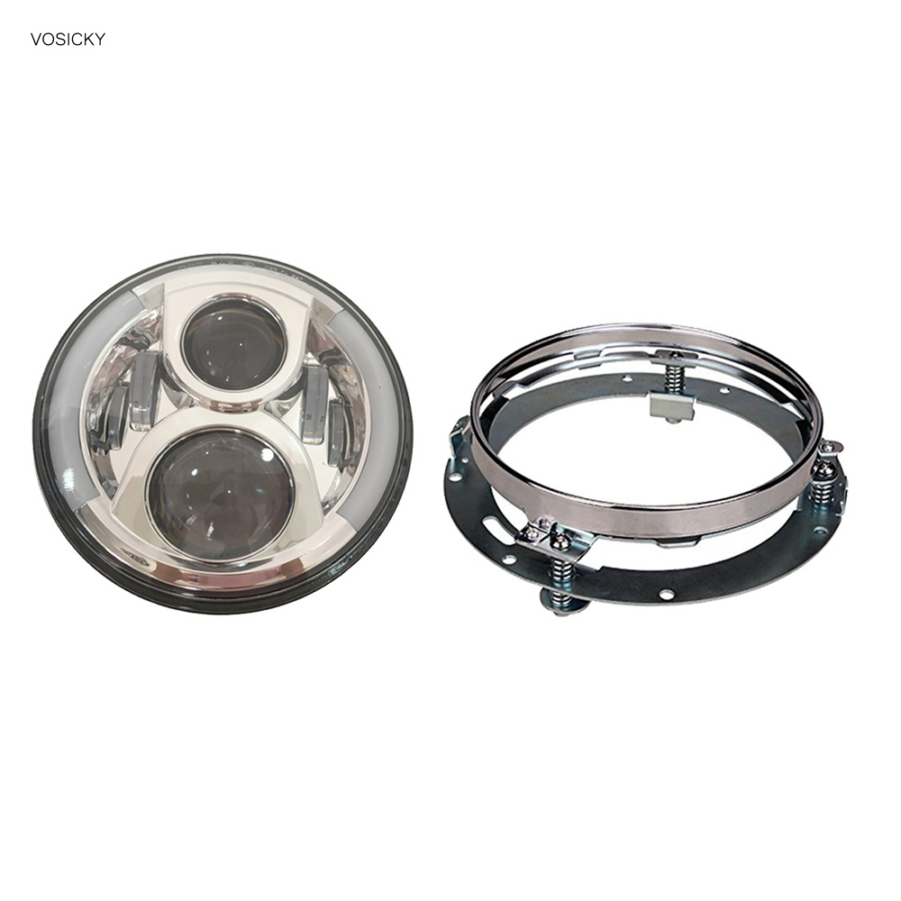 7 inch headlight with DRL Angel Eyes for Harley Davidson Sportsterst with 7 inch headlight mounting bracket for harley