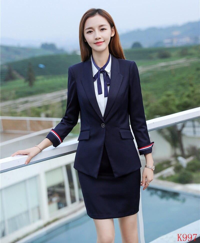 Blu Donne Blazer Lavoro Giacca Alta Usura Gonna Qualità Formale Vestito Delle Set Navy Del Uniformi Stili Di Con Ufficio E Signore 4qt108Bww