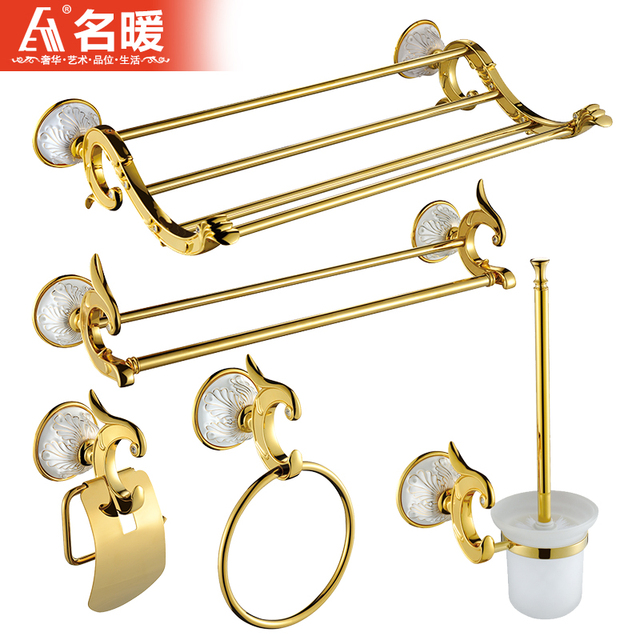 Luxury Gold Copper Bathroom Hardware Sets Ceramic Phoenix Carved Products European Accessories