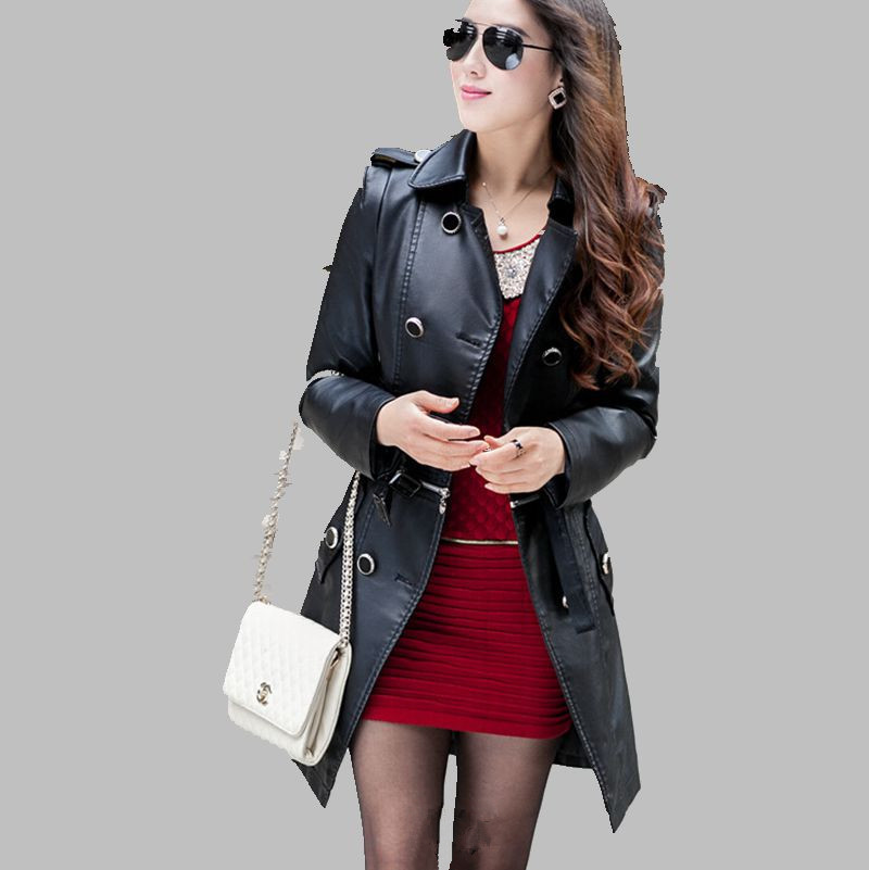 Leather Jacket Women Top Fashion 2017 Plus Size Slim Dual Use PU Removable Ladies Faux Synthetic Long Leather Trench Coat ZL0816