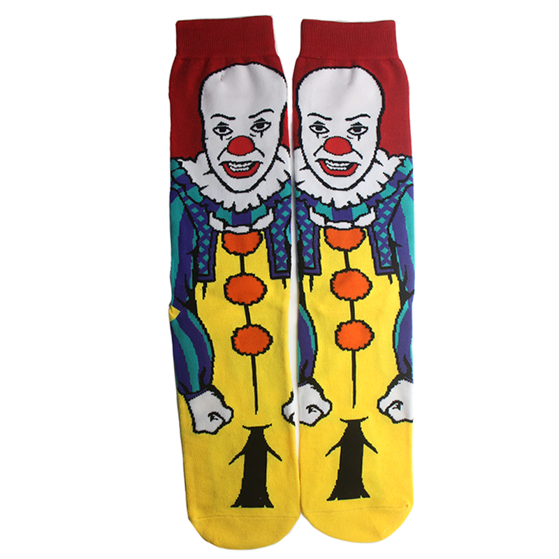 K174 1 Pair Stephen King's It Fashion Men Cotton Socks Clown Famous Horror Movie Socks Unisex Funny Novelty Socks