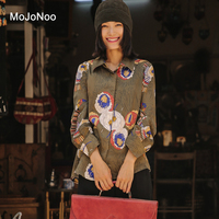 MOJONOO Chinese Print Vintage Blouses For Women 2017 Autumn New Ladies Office Wear Blouses And Shirt
