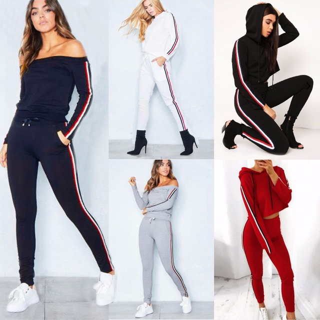 ELSVIOS Two Piece Set Sportswear Tracksuits Casual For Women Suit 2017 Autumn Winter Top and Pants Long Sleeve Suit Female S-3XL