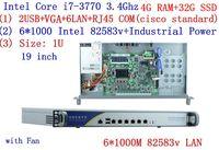 Дешевые сервер стойки 1U маршрутизаторы с 6*1000 м 82583 В Gigabit Inte core i7 3770 3,4 ГГц 4 г Оперативная память 32 г SSD Поддержка ROS RouterOS Mikrotik