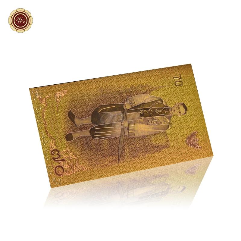 Billete de Banco de Color WR Tailandia 70 Aniversario billete de oro dinero falso para la decoración de colección regalos de recuerdo