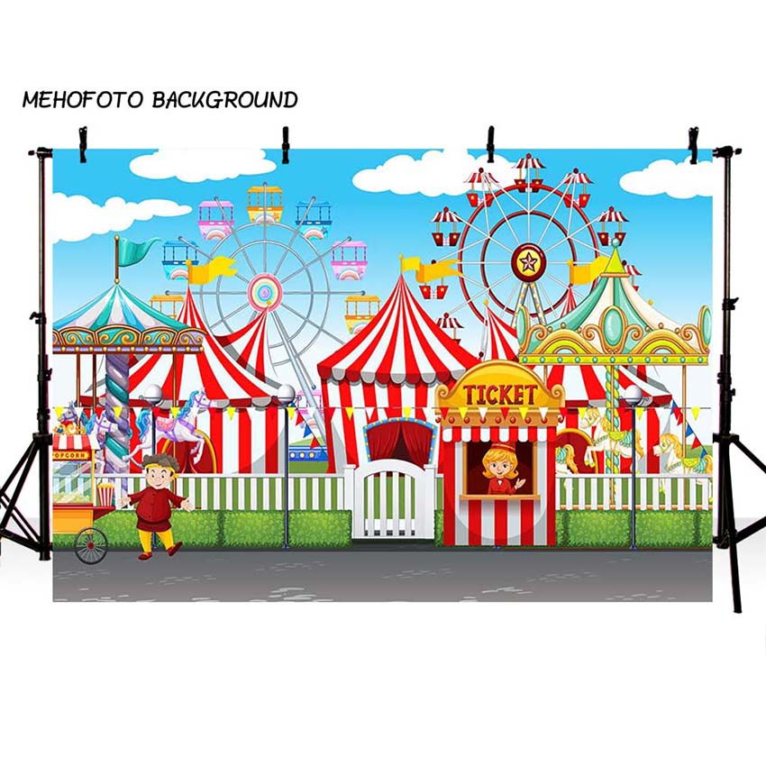 MEHOFOTO Circus Party Photo Background 7x5ft Thin Vinyl Children Photography Backdrops for Photo Studio Custom LV-112 circus banner party backdrops vinyl cloth computer printed children photo background circus