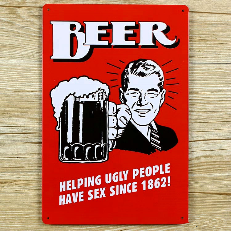 "Vânzări la cald ""BEER HELPING UGLY PEOPLES"" Semne de staniu poster de film Art House Cafe Bar Vintage Metal Pictura autocolante de perete decor acasă"