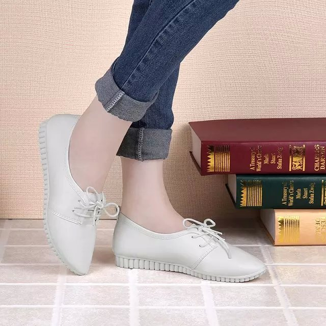 Women spring and summer lace up white shoes casual cool lady office black flat shoes cute leisure female flats sapatos femininos baiclothing women casual pointed toe flat shoes lady cool spring pu leather flats female white office shoes sapatos femininos