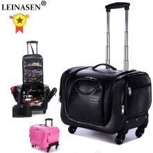 LEINASEN Rolling Luggage Spinner Women Cosmetic Case Multi-function Trolley Carry On Suitcases Wheel Cabin Travel Bag(China)