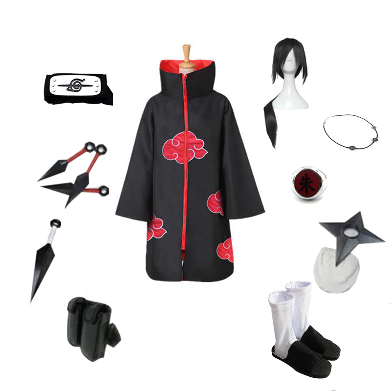 Brdwn NARUTO Akatsuki Uchiha Itachi Suit Cosplay Costume Red Cloud Cloak Headband Shoes Ring Kunai bag