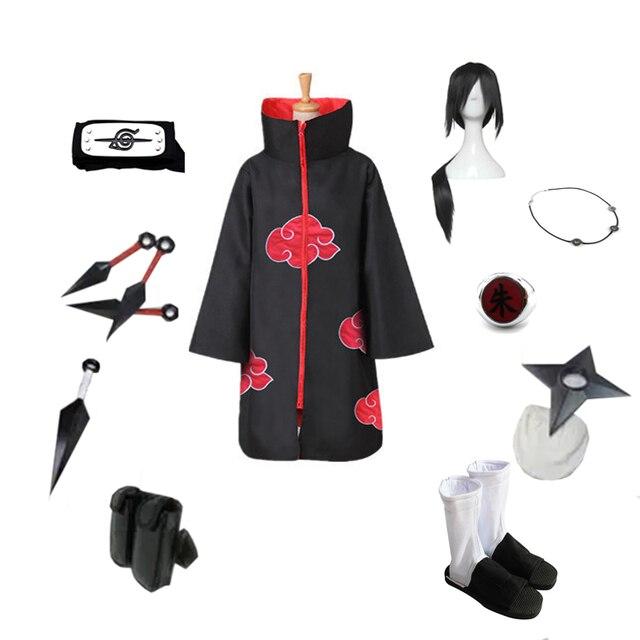 Brdwn NARUTO Akatsuki Uchiha Itachi Suit Cosplay Costume (Red Cloud Cloak+Headband+Shoes+Ring+Kunai+bag+shuriken+necklace)