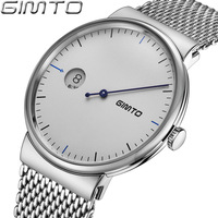 Fashion GIMTO Brand Silver Stainless Steel Men Watches Business Series Minimalism Unique Design Waterproof Watches For