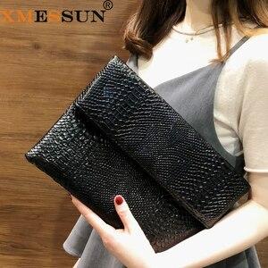 Image 1 - Xmessun Serpentine Clutch Bag Voor Lady Vrouwen Handtas Mode Envelop Tas Feestavond Clutch Tassen Zwart Portemonnee Dag Clutch f47