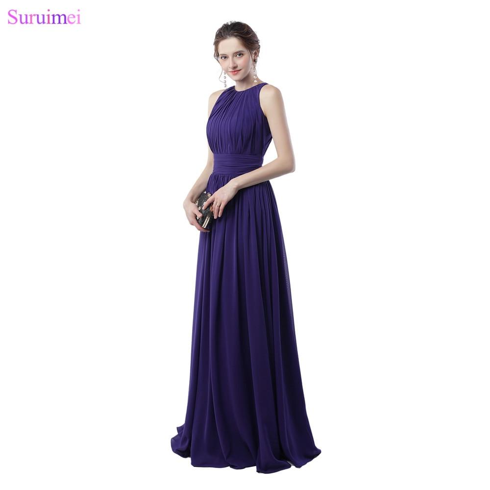 183f5aa38a Purple Bridesmaid Dresses Off The Shoulder Elegant Zippered Back Chiffon  Long Brides Maid Dress Maid Of