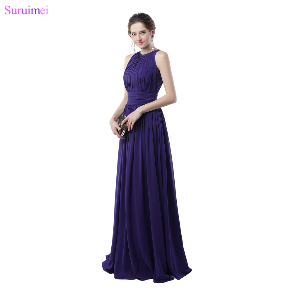 Purple Bridesmaid Dresses Off The Shoulder Elegant Zippered Back Chiffon Long Brides Maid Dress Maid Of Honor Cheap On Sale