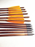 12 pk handmade Yellow & orange turkey feather bamboo arrows shooting recurve longbow hunters lovers