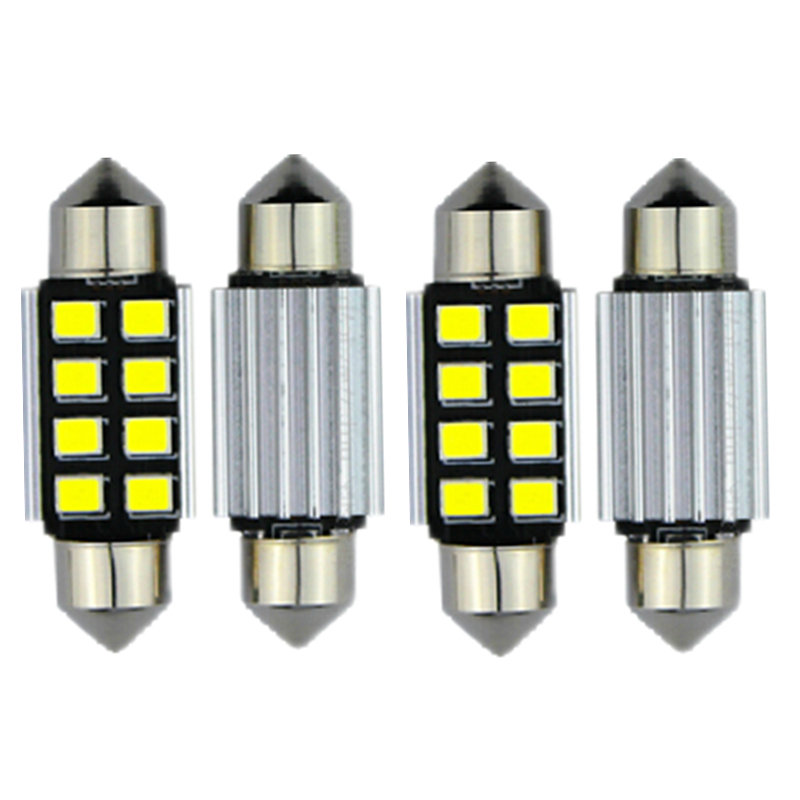 WLJH 4stk Car Led Light Interiørbelysning LED Canbus 41 / 42mm Dome Map Lastpære til Audi A3 A4 A5 A6 A7 A8 Q5 Q7 S4 S5 S6 S7 S8