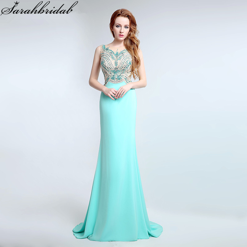 Sexy Sheer Sweep Floor Evening Dress Illusion Luxury Crystal Beading Party Prom Gown vestido de noiva LSX179