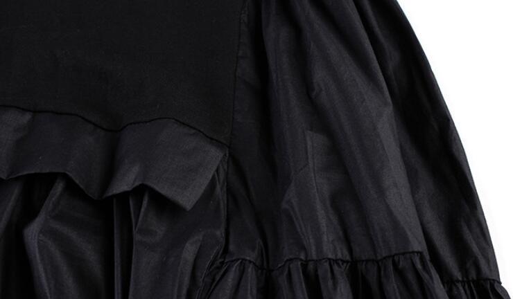 Spedizione Donne Colore Pieghettato Solido Black Vestito grigio Di Modo Corta Splice Jry Nuovo Tondo Da Delle Casuale gray Colletto Gratuita Manica Nero Estate rzngq6ra