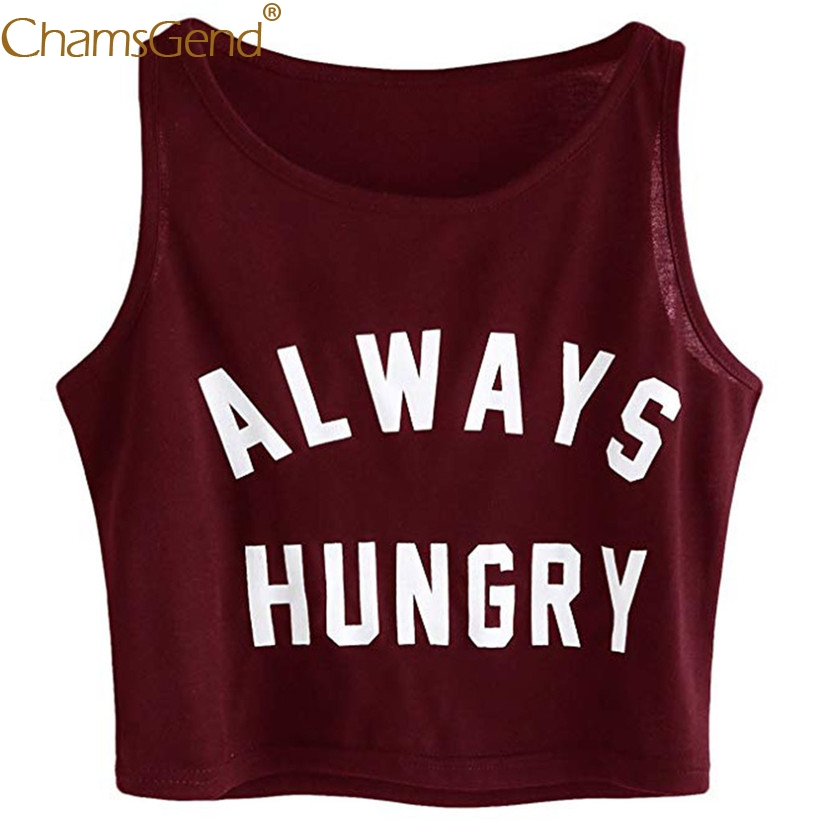 ALWAYS HUNGRY Printing Casual Women   Tank     Top   Fashion Summer Sleeveless Round Neck Crop   Top   Woman Girls Street Shirts 90228