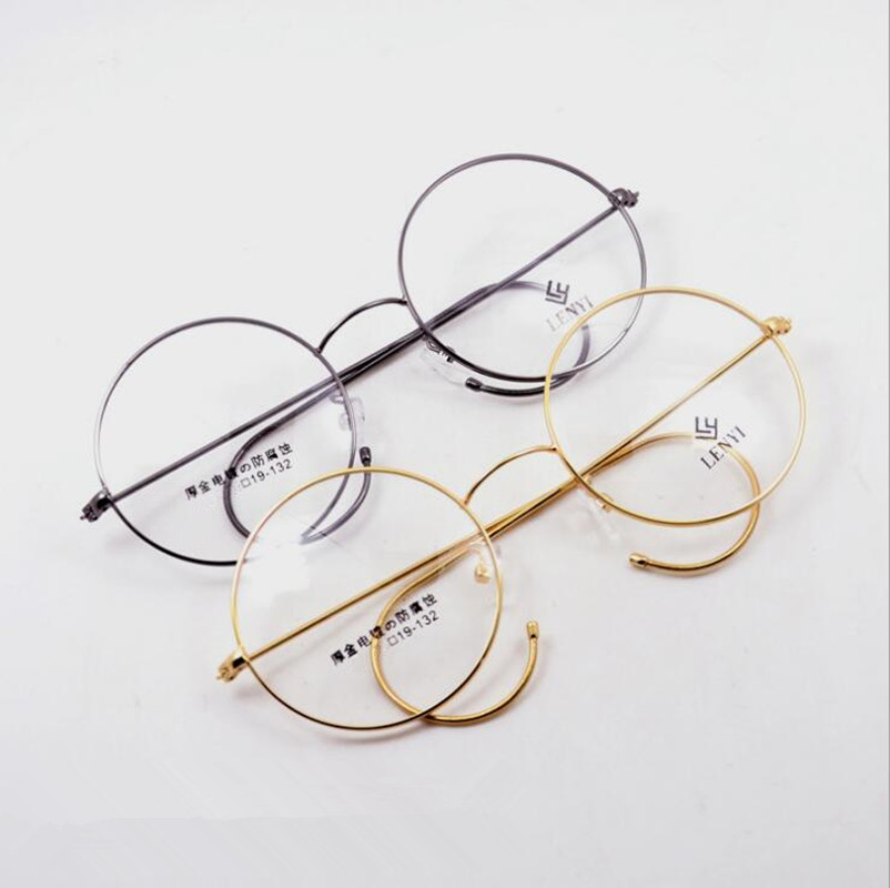 7d7544c330 Detail Feedback Questions about 48mm Vintage Round Antique Wire Rim Metal Eyeglass  Frames Gold Gunmetal Full Rim Men Women Retro Glasses myopia Rx able on ...