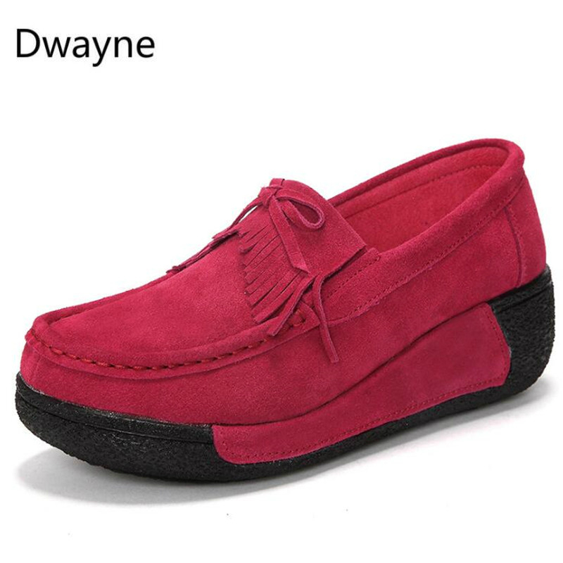 Dwayne 2018 Bowknot Platform Sneakers   Suede     Leather   Creepers Women Flats Thick Bottom Casual Shoes Female Breathable Moccasins