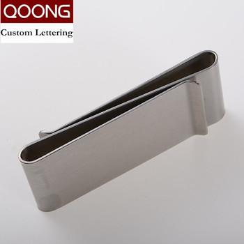 QOONG Double Sided Stainless Steel Metal Money Clip Fashion Simple Silver Dollar Cash Clamp Holder Wallet for Men Women ML1-006 qoong stainless steel double sided metal money clip fashion simple silver black dollar cash clamp holder wallet for men women