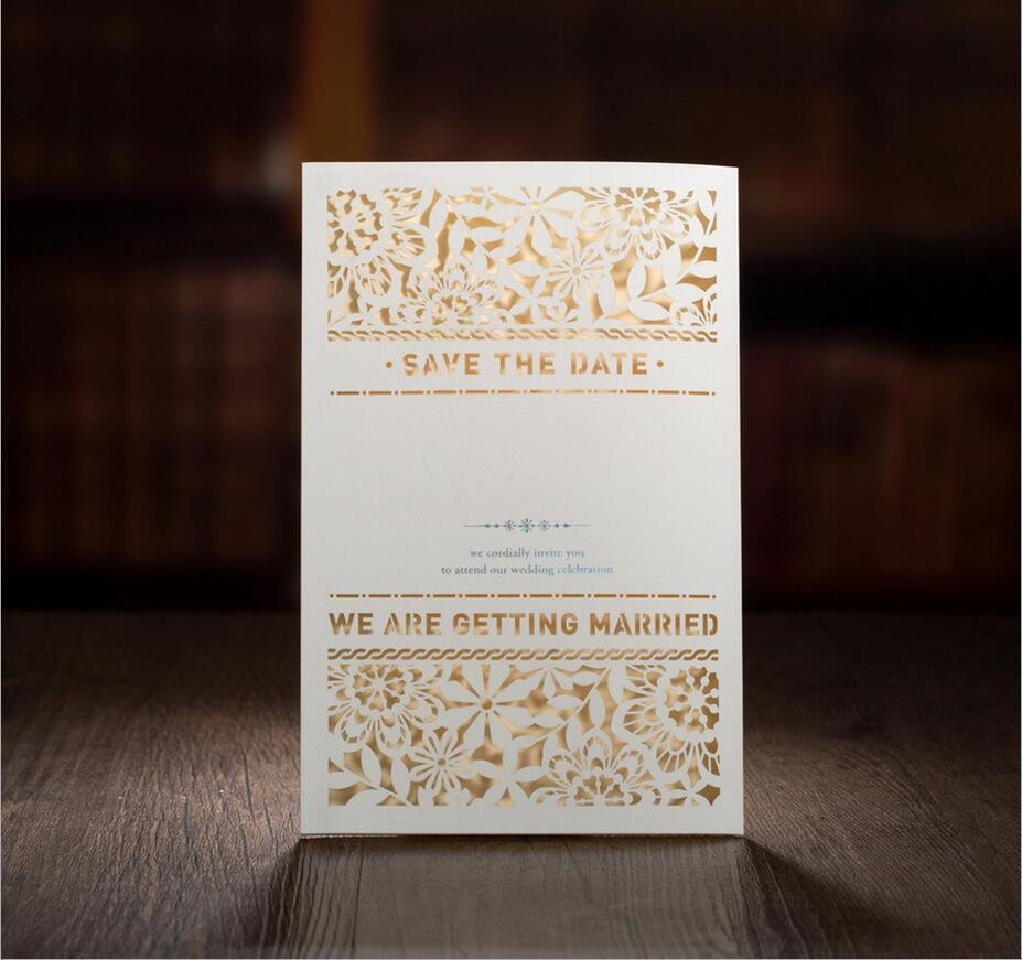 50Set Printable Western Wedding Invitations Cards Laser Cut Flower Wedding  Decorations Greeting Cards For Mariage Inner