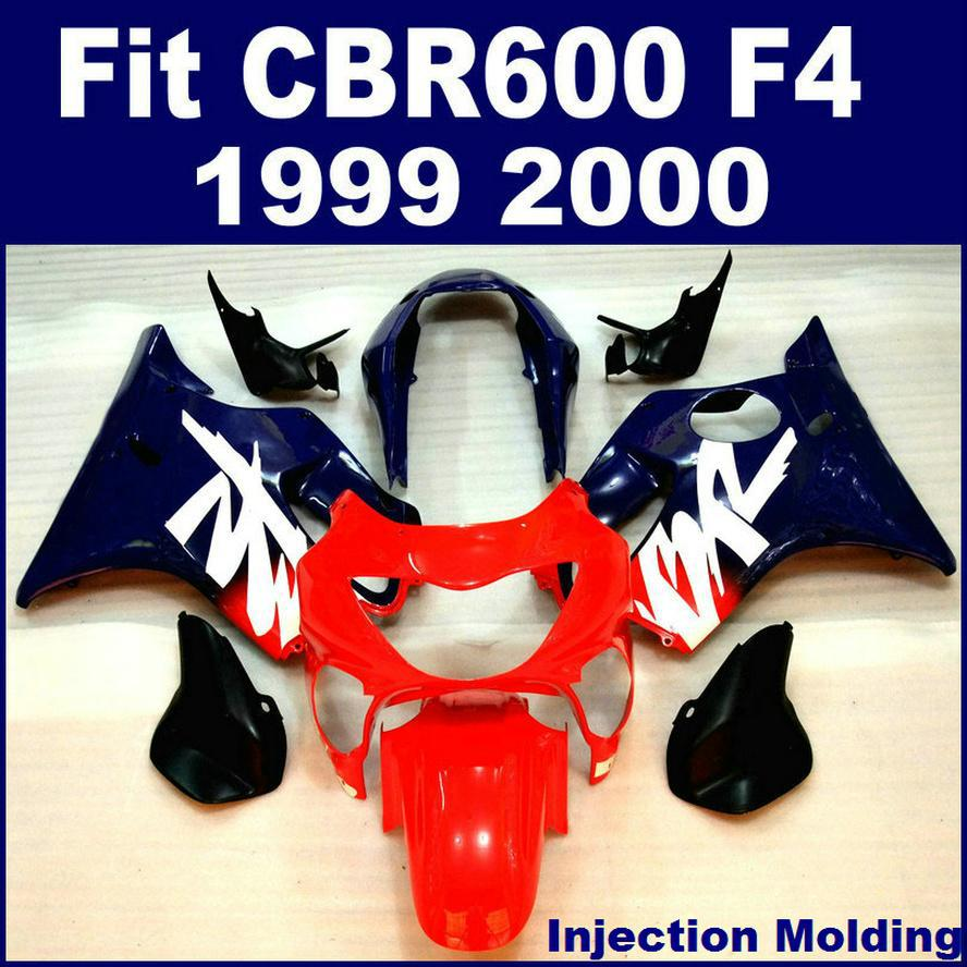 ABS Plastic Parts For HONDA CBR 600 F4 1999 2000 Full Fairing Blue Red 99 00 CBR600 Fairings CHUJ