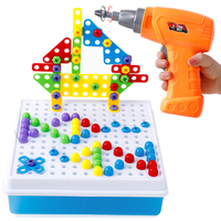 193pcs Children Electric Drill 3D Puzzle Toys Kids Creative Puzzle Screws Assemble Knockdown Drilling for Boys Pretend Toy Gift
