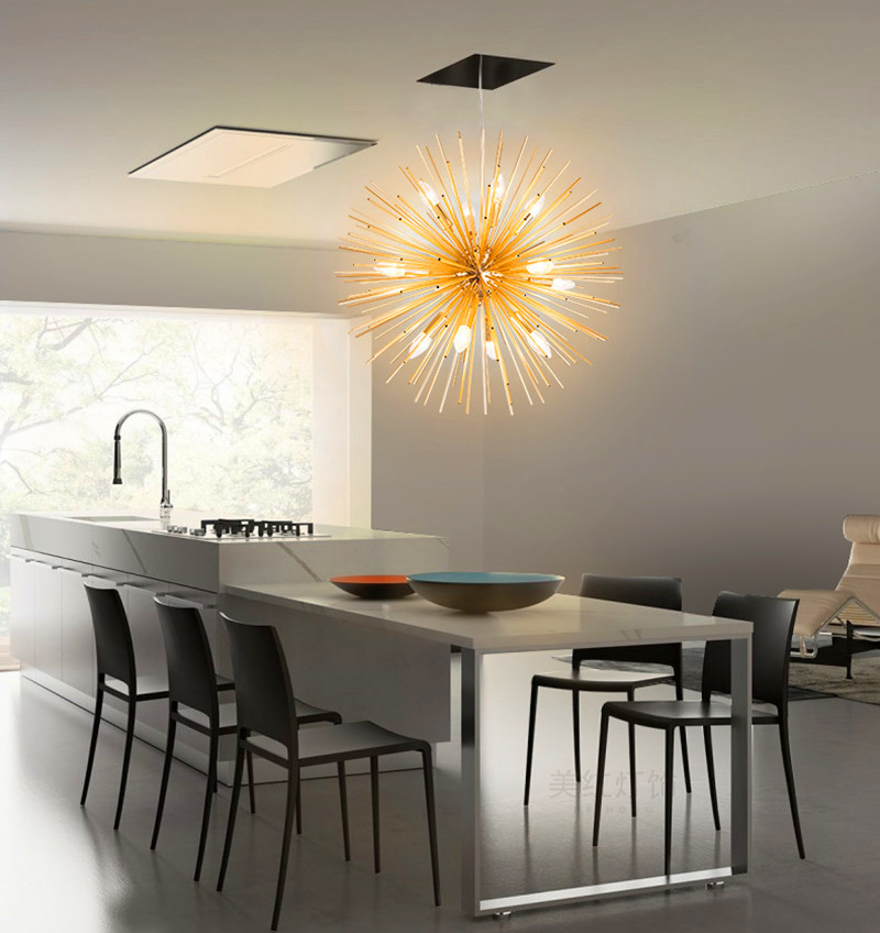 Nordic Golden Sea Urchin modern Living Room Pendant Lights;Restaurant Golden Pendant Lamp;Cafe Shop Art Light|Pendant Lights| |  - title=