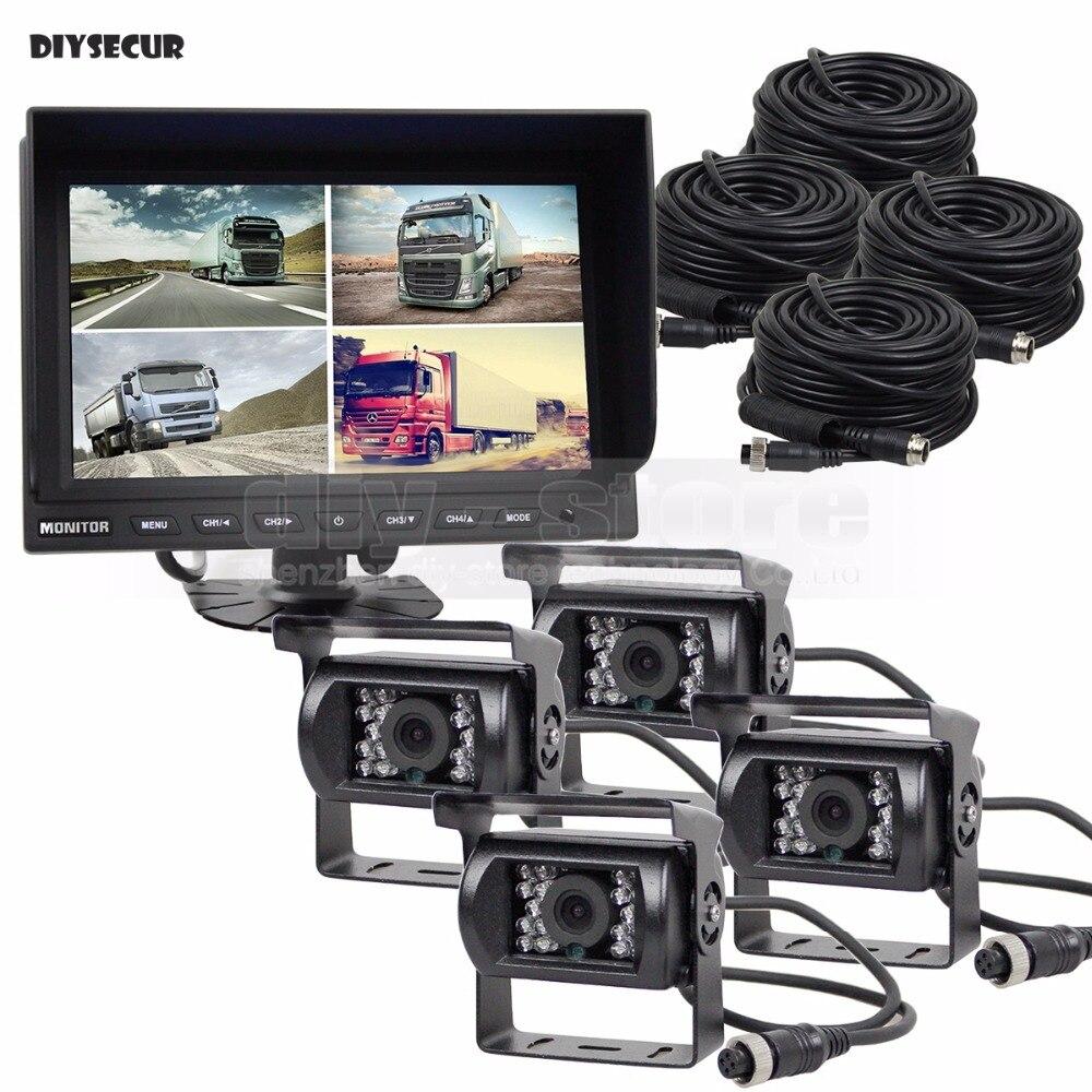 DIYSECUR 9 дюймов Разделение QUAD монитора автомобиля + 4 x CCD Ночное Видение заднего вида Камера Водонепроницаемый для автомобиля грузовик автобус