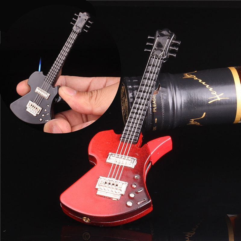 Mini Creative Butane Lighter Cute Guitar Model Windproof Fire Starter Keychain Ring Collection Valentine New Year Gift Decor