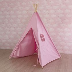 Pianura Rosa Tela di Canapa Delle Ragazze Teepee Tenda per I Bambini per Bambini Playhouse Indiano Tenda Tepee Room Decor