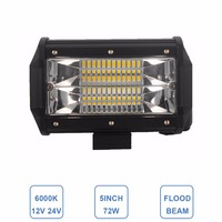Offroad 5INCH 72W LED WORK LIGHT BAR FLOOD LIGHT 12V 24V CAR TRUCK SUV BOAT ATV