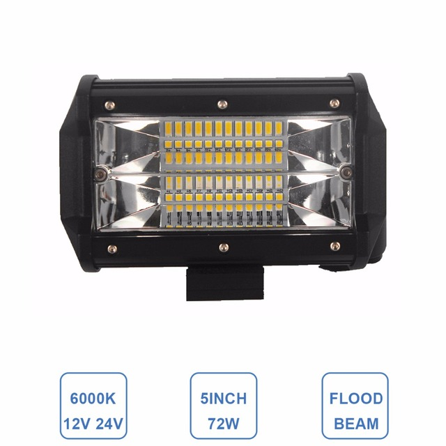 Offroad 5 calowy 72 W LED WORK LIGHT reflektor 12 V 24 V samochodów TRUCK SUV łódź ATV 4X4 4WD przyczepy WAGON PICKUP jazdy biały bursztyn lampy