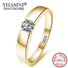 Купить с кэшбэком YHAMNI 100% Real Solid 925 Sterling Silver Rings Set 1 Carat Sona CZ Diamant Gold Color Wedding Rings for Women and Men AMKR10