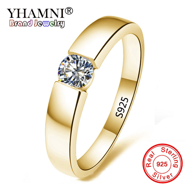 YHAMNI 100% Real Solid 925 Sterling Silver Rings Set 1 Carat Sona CZ Diamant Gold Color Wedding Rings for Women and Men AMKR10