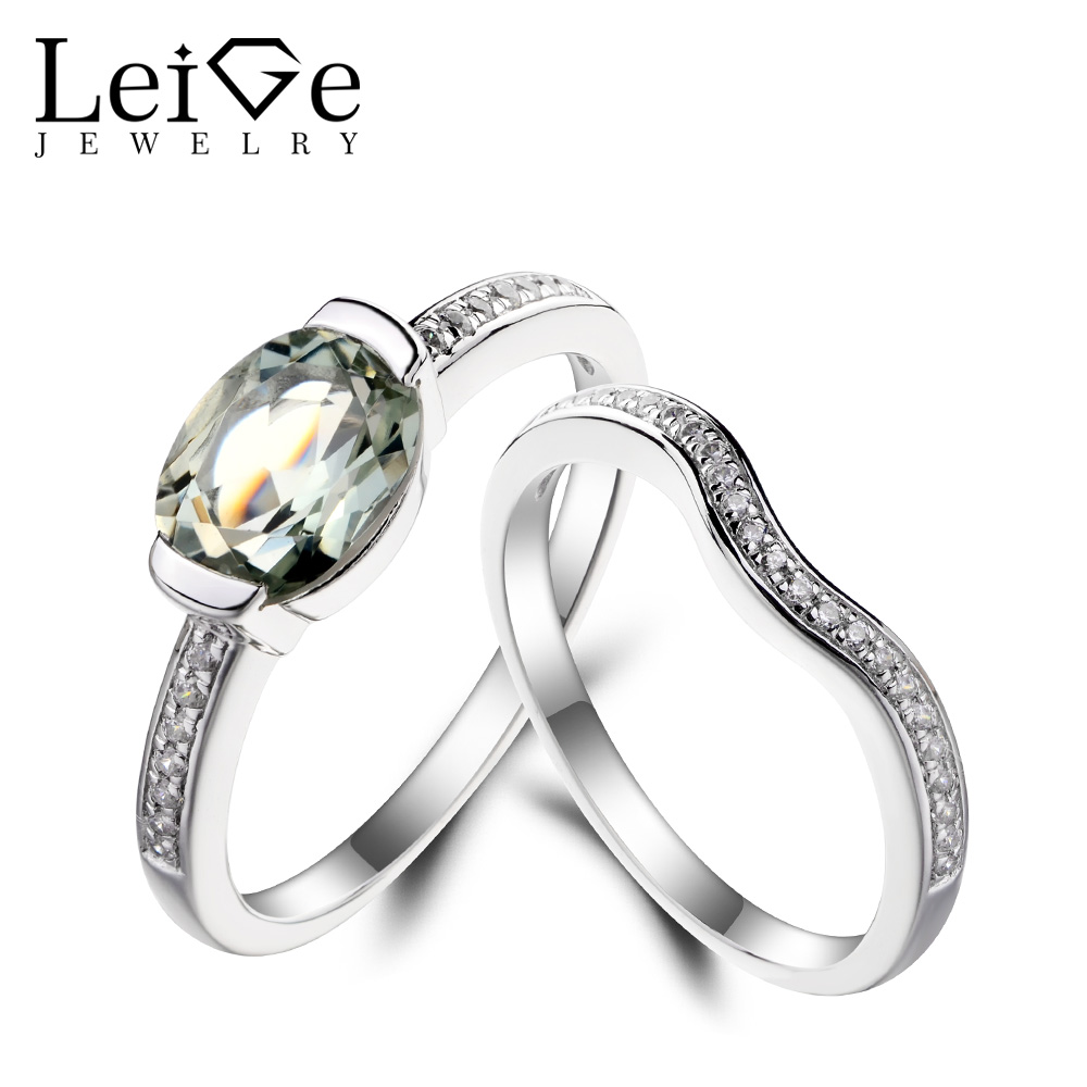 Leige Jewelry Genuine Natural Green Amethyst Ring Promise Ring Oval Cut Green Gemstone Solid 925 Sterling Silver for Women