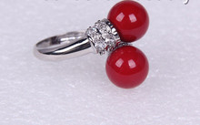 FREE shipping> >>>stunning big 10mm round red south sea shell pearl ring m603(China)