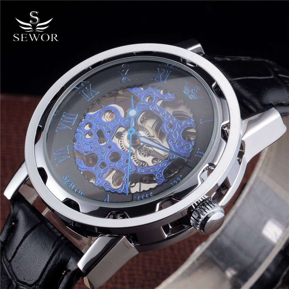 Top Fashion SEWOR Gear Steel Case Fine Carving Blue Skeleton Watches Men Dial Leather Strap Mens Luxury Mechanical Wristwatches
