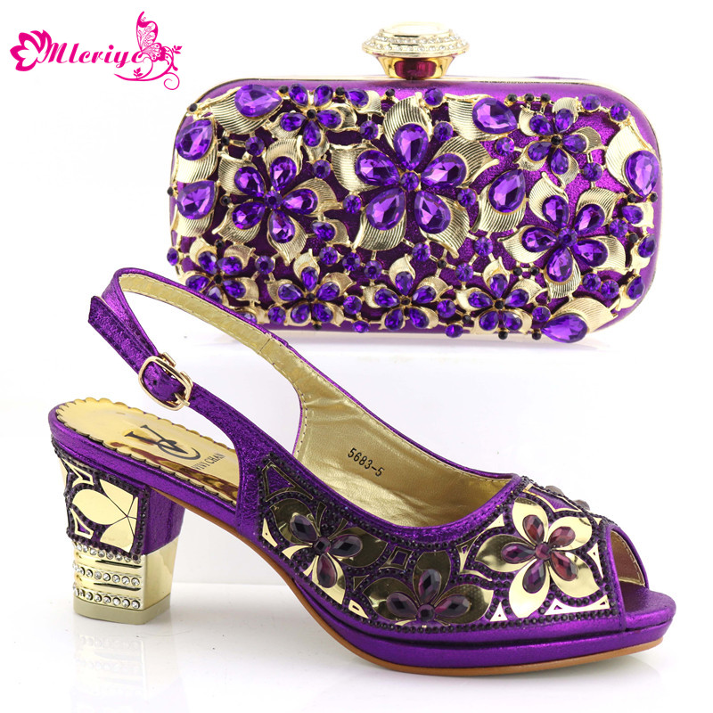 Latest purple Italian Shoes and Bags To Match Shoes with Bag Set Decorated with Rhinestone Nigerian Party Shoes and Bag Set capputine latest italian woman shoes and bags to match shoes with bag set bag and shoes set italy nigerian shoes and purse set