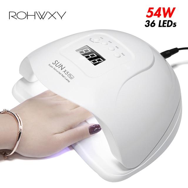 ROHWXY שמש 5X בתוספת LED מנורת UV לציפורניים מייבש 54 W/48 W/36 W קרח מנורה עבור מניקור ג 'ל מנורת מנורת עבור ג' ל לכה מניקור
