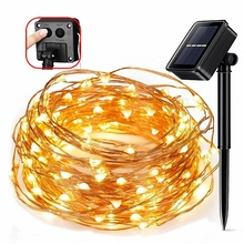 8 mode 5M 50LEDs/ 10M 100LEDs/20M 200LEDs solar powered LED Copper Wire lighting Outdoor holiday Garden party Christmas decor