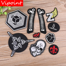 VIPOINT embroidery skull fist patches frog NO zip wings badges applique for clothing YX-277