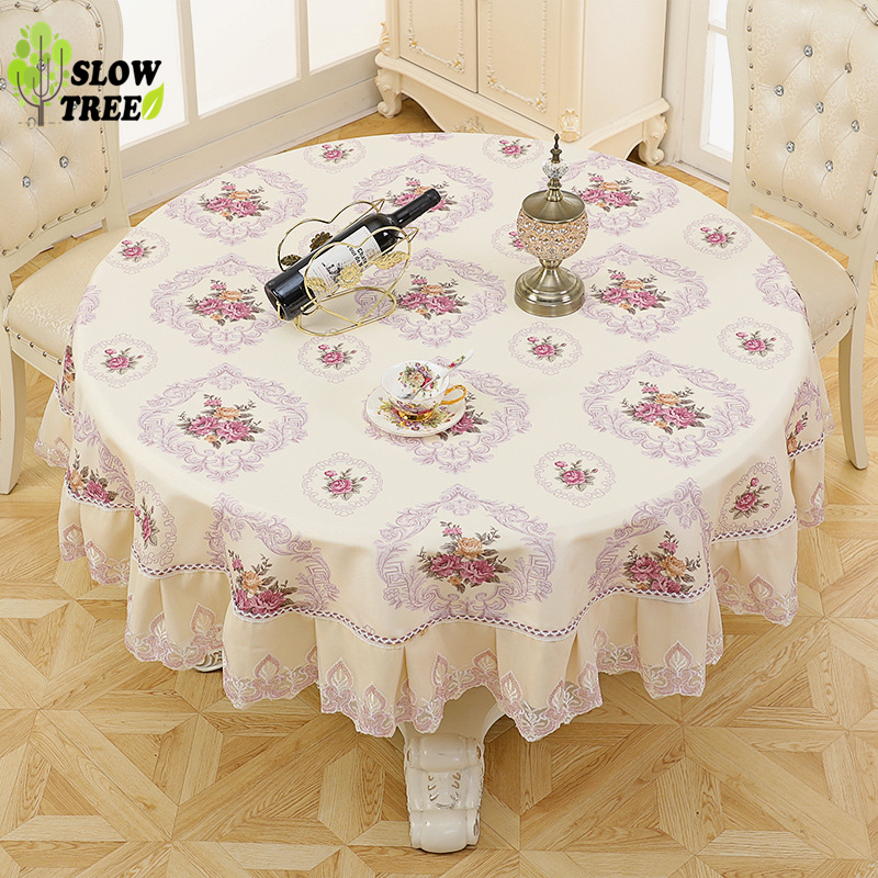 Slow Tree Round Tablecloth Living Room Table Cloth Pastoral Table Cover Waterproof Anti Hot Oil Apply To The Desk and Tea Table