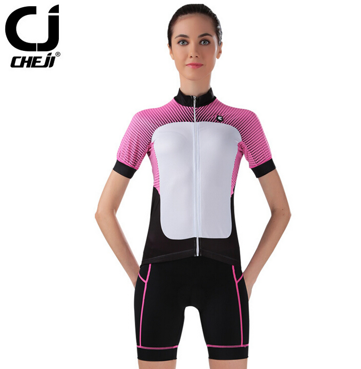 ФОТО CHEJI Women Cycling Jerseys + Shorts Set Cycling Clothing Bike Short Suit