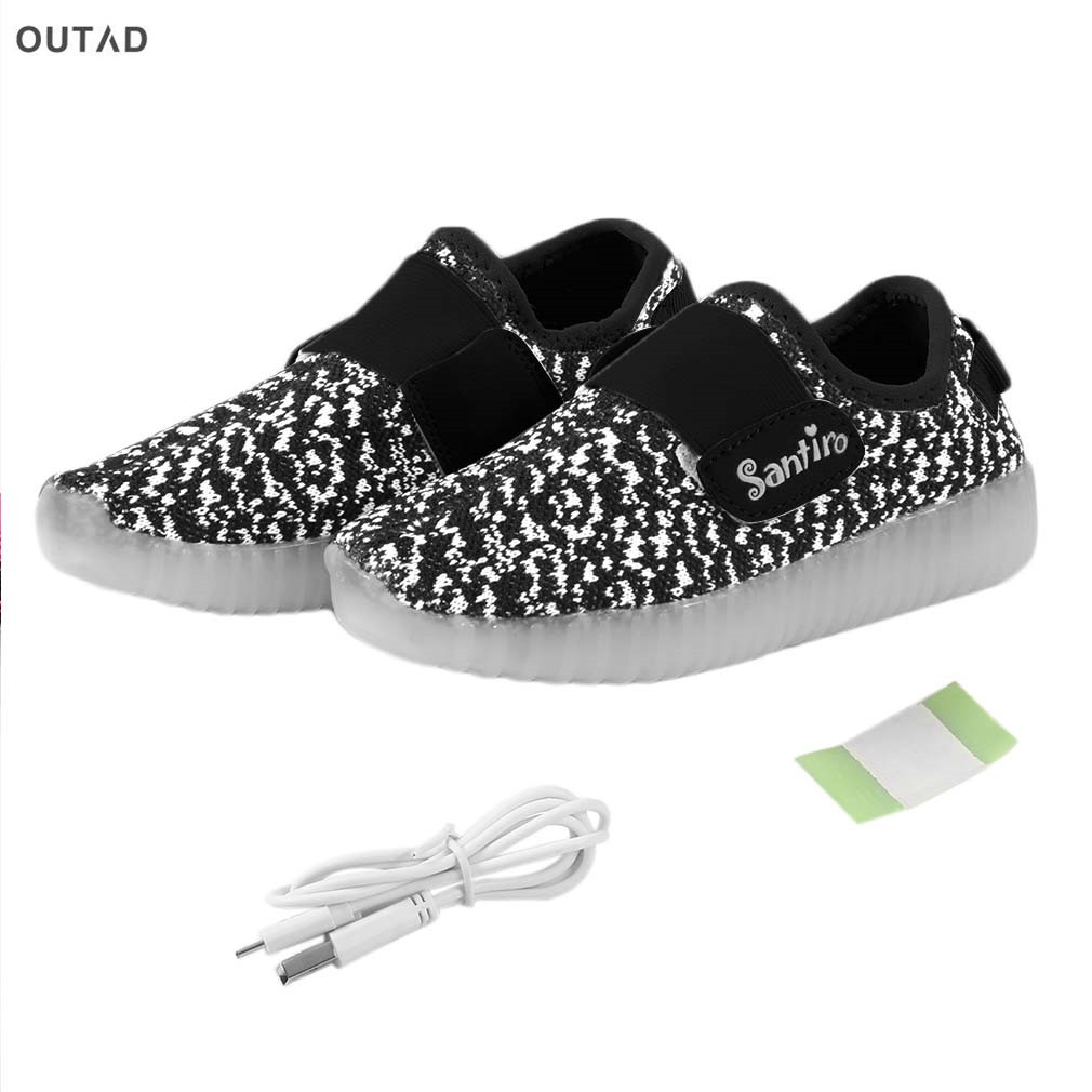 OUTAD Breathable Children Shoes Boys Girls Fashion LED Light up USB Rechargeable Cut-outs Kids Weave Causal Sport Sneakers Funny